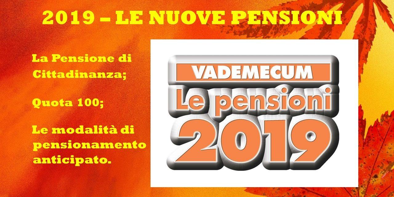 PENSIONI – VADEMECUM 2019