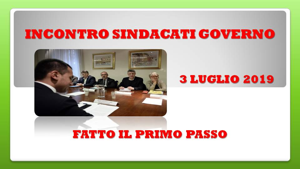 INCONTRO GOVERNO SINDACATI