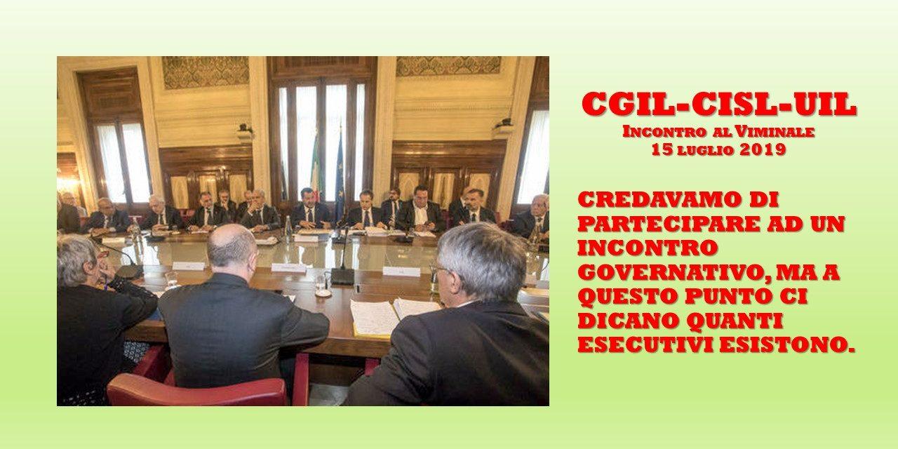 CGIL-CISL-UIL, INCONTRO AL VIMINALE