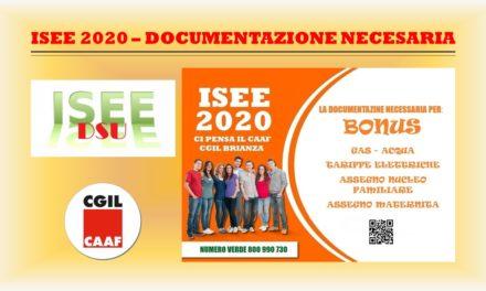 I.S.E.E. 2020 – DOCUMENTI NECESSARI PER LA DICHIARAZIONE