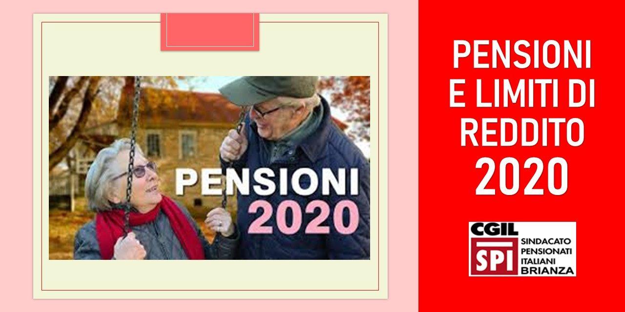 PENSIONI – LIMITI DI REDDITO 2020
