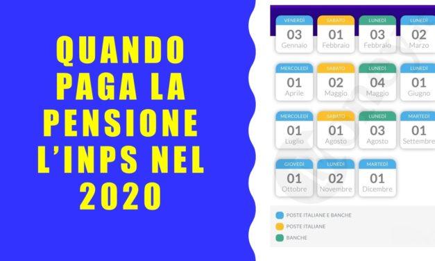 I GIORNI DI PAGAMENTO DELLA PENSIONE 2020
