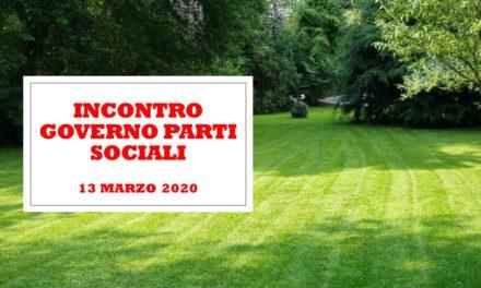 INCONTRO GOVERNO PARTI SOCIALI