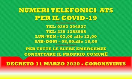 DECRETO 11 MARZO 2020 – CORONAVIRUS