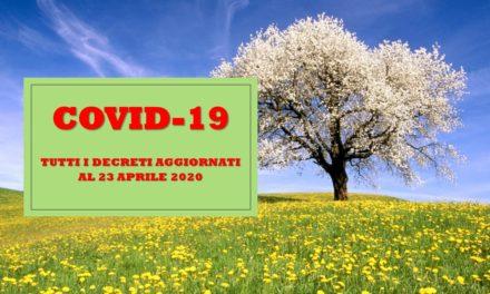 CORONA VIRUS – TUTTI I DECRETI AL 23 APRILE 2020