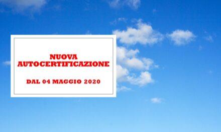 AUTOCERTIFICAZIONE – 4 MAGGIO 2020