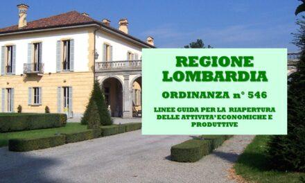 REGIONE LOMBARDIA – ORDINANZA n° 546 – 13 MAGGIO 2020