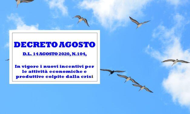 DECRETO AGOSTO – D.L. 14 AGOSTO 2020 N° 104