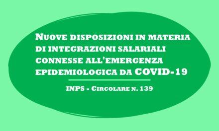 DISPOSIZIONI PER INTEGRAZIONI SALARIALI PER COVID-19