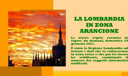 LOMBARDIA IN ZONA ARANCIONE DAL 24 GENNAIO 2021
