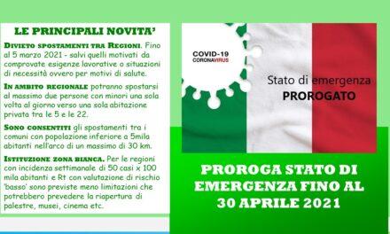 PROROGA STATO DI EMERGENZA – DPCM 14 GENNAIO 2020 N°2
