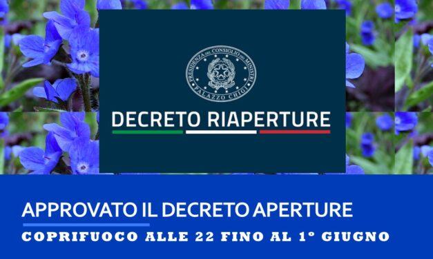 DECRETO RIAPERTURE – 21 APRILE 2021