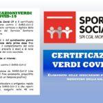 SPORTELLO SOCIALE – COS'E' LA CERTIFICAZIONE VERDE O GREEN PASS