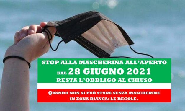 STOP ALLE MASCHERINE ALL'APERTO DAL 28 GIUGNO 2021