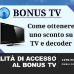 COME OTTENERE IL BONUS TV 2021-22