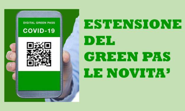 ESTENSIONE DEL GREEN PASS – LE NOVITA'