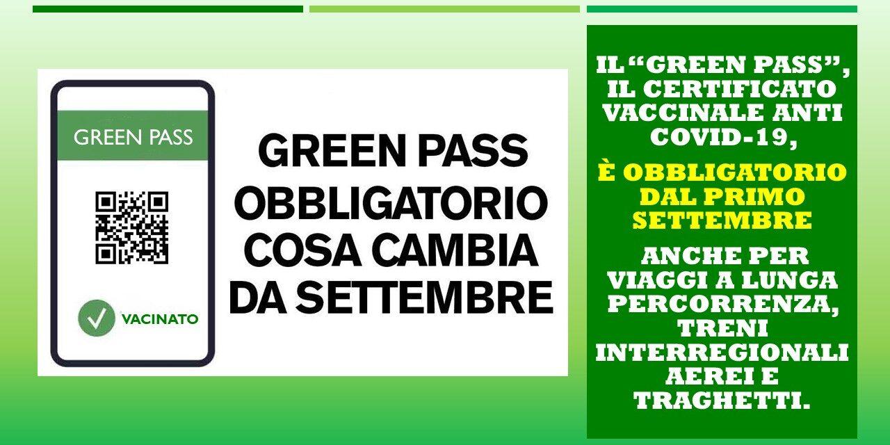 GREEN PASS COSA CAMBIA DAL 1° SETTEMBRE 2021