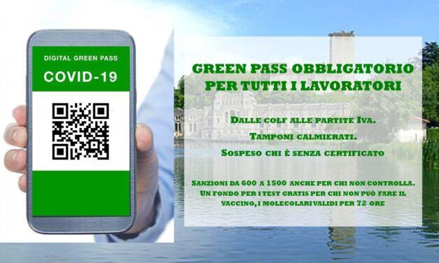 GREEN PASS – OBBLIGATORIO PER TUTTI I LAVORATORI