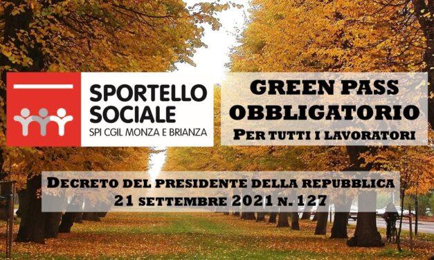 SPORTELLO SOCIALE – GREEN PASS OBBLIGATORIO